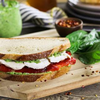 Roasted Red Pepper Sandwich w/ Vegan Mozzarella & Pesto.