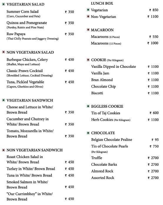 La Patisserie - The Taj Mahal Palace menu 1