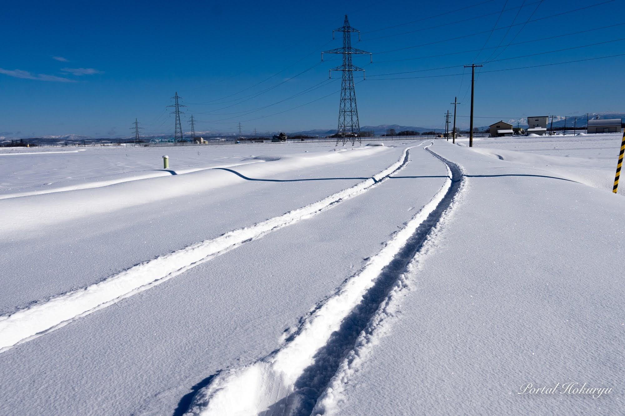 新雪に描かれた轍(わだち)