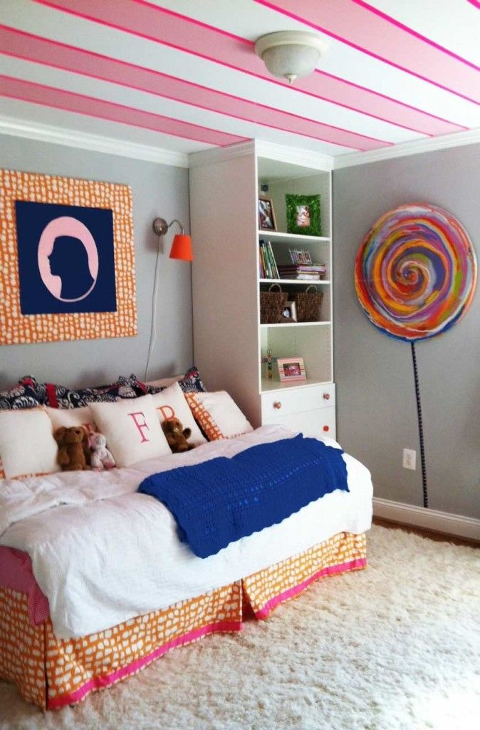 Combine Candy Theme and Stripe Ceiling Girl Bedroom Ideas