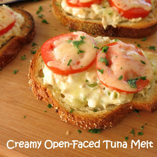 Creamy Open Faced Tuna Melt Sandwiches.