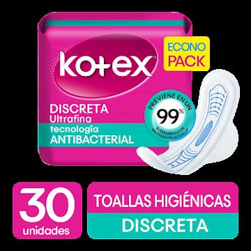 TOALLAS INTIMAS KOTEX   DISCRETA TELA ULTRA FINA X30UND.