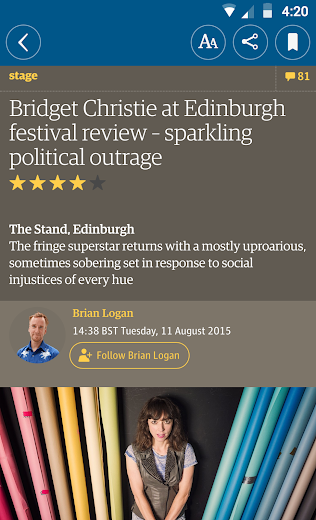 Screenshot 2 for The Guardian's Android app'