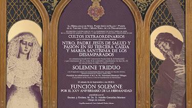 Cartel anunciador del tríduo extraordinario de la Hermandad de Pasión.