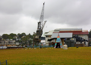 Photo: Year 2 Day 176 - One of the Cranes on the Island and One of the Art Exhibits