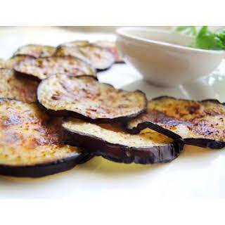 Fried Eggplant With Sour Cream Garlic Dip.