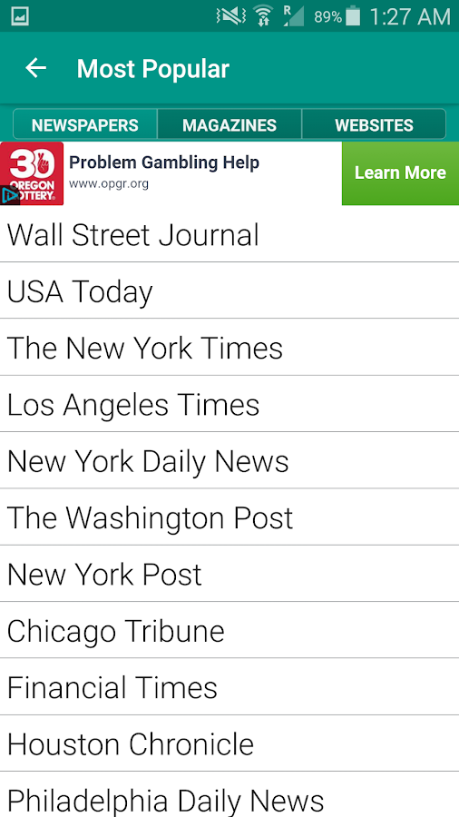Screenshots of World Newspapers for iPhone