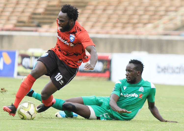 AFC Leopards striker Elvis Rupia (left) vies with Gor Mahia's Andrew Juma during a past Mashemeji derby.