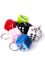 Fluffig tärning, vit, svart, grön, röd, rosa, blå