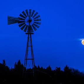 Blue Moon by Jim Talbert - Buildings & Architecture Other Exteriors ( landscapes, sky, worm moon, canon 5d mkiv, full moon, moon, nature, windmill, silhouette, kansas, beautiful kansas, canon )