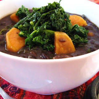 Smoky Black Bean Soup With Sweet Potato & Kale.