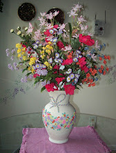 "Photo: Vase with silk flowers - Polymer Clay hand made.  10 1/2"" $145.00"