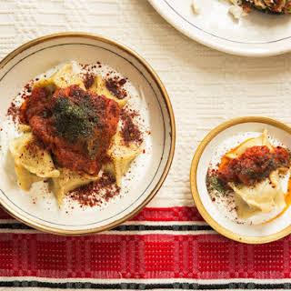 Turkish Lamb Dumplings with Yogurt and Brown Butter Tomato Sauce (Manti).