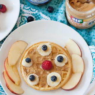Healthy Waffle Peanut Butter Breakfast Pizzas