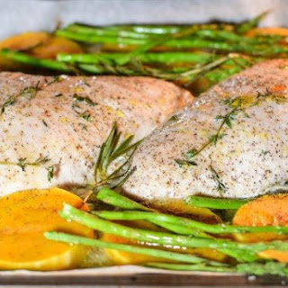 One Pan Roasted Turkey with Asparagus and Butternut Squash.