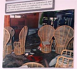Photo: site of terrorist explosion, havana. Tracey Eaton photo of museum photograph
