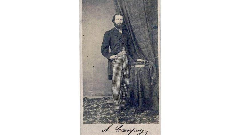 Retrato del almeriense Antonio Campoy Robles, dedicado a su buen amigo Miguel Jerez Vázquez, diputado por Estepona y masón como él.