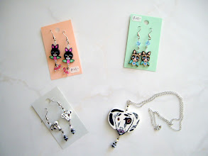 Photo: Polymer Clay Dog and Cat earrings $23.00. Necklace $29.00.
