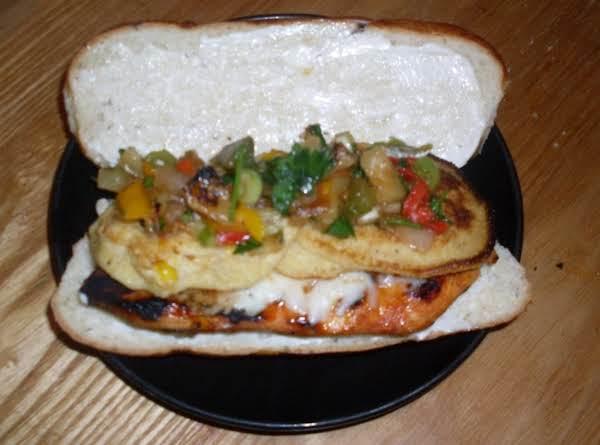 Grilled Chicken, Corn Fritter, & Pineapple Pepper Salsa Sammie Recipe