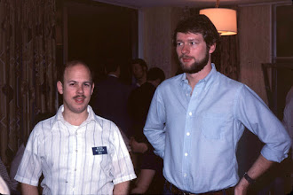 Photo: W2RQ and W2SQ at a Dayton 1983 hospitality suite.