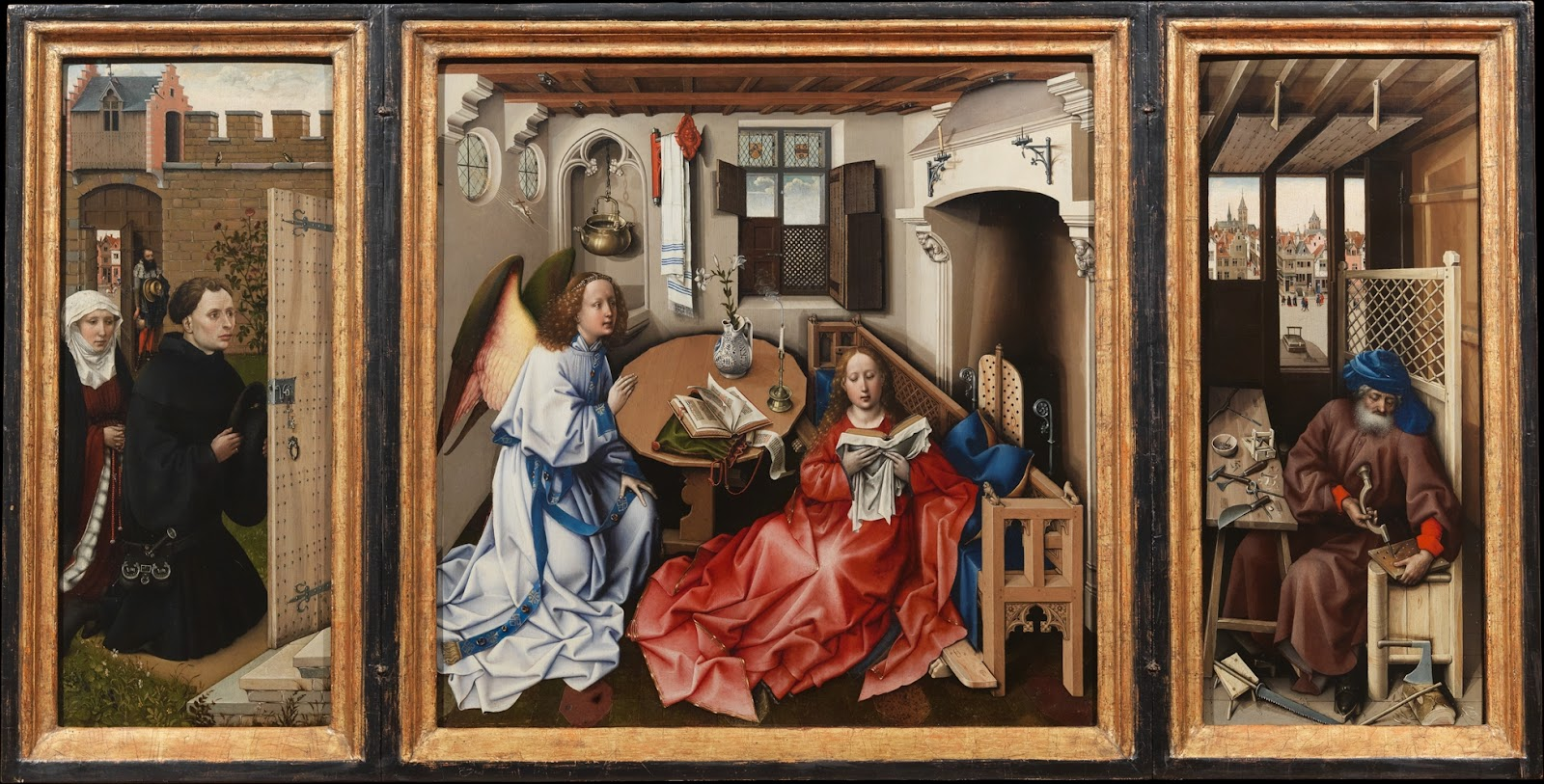 Robert Campin, The Annunciation: Merode Altarpiece