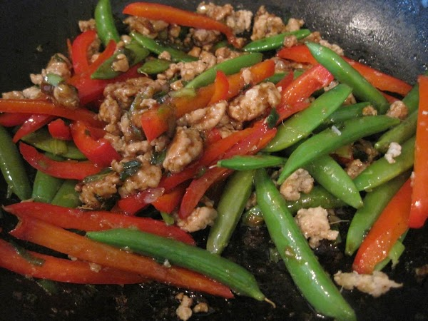 Cook a minute more and add the red pepper. Cook another 3 minutes or...