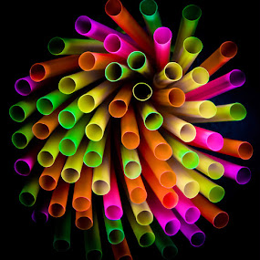 Neon Swirl by Craig Curlee - Artistic Objects Cups, Plates & Utensils ( bright, neon, utensils, straws, closeup )
