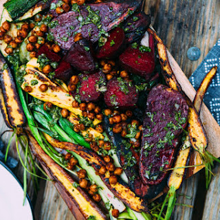 Grilled Veggies with Pan Fried Chickpeas and Chimichurri Recipe