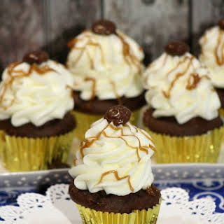 Chocolate Cupcakes with Salted Caramel Frosting.