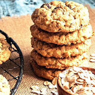 Soft Chocolate Chip Oatmeal Cookies.