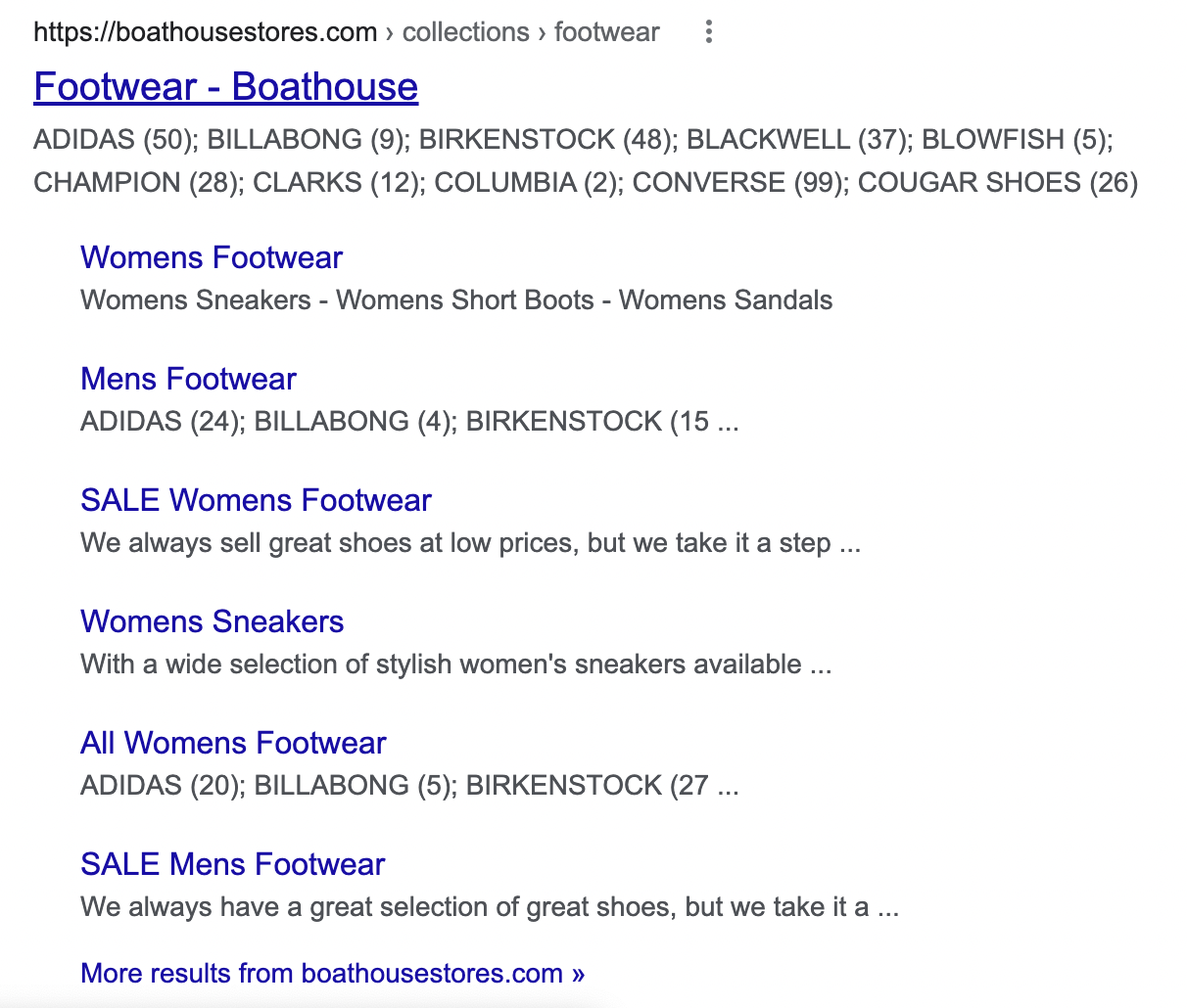 Boathouse footwear Google search results page