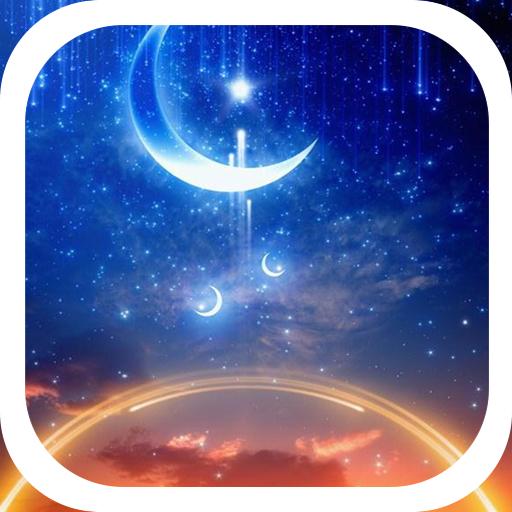 Starry sky shining moon theme