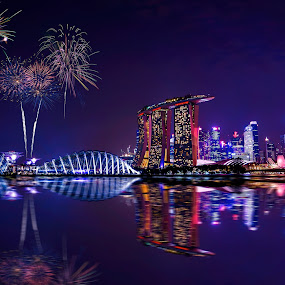 Marina Bay Sands from a Far by Ferdinand Ludo - City,  Street & Park  Night ( what a sight, singapore 50th anniversary, lovely night shot with fireworks to boot,  )