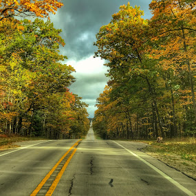 October 2018 -2 by Patti Pappas - Transportation Roads ( diriving, fall, michigan, road, october, trees )