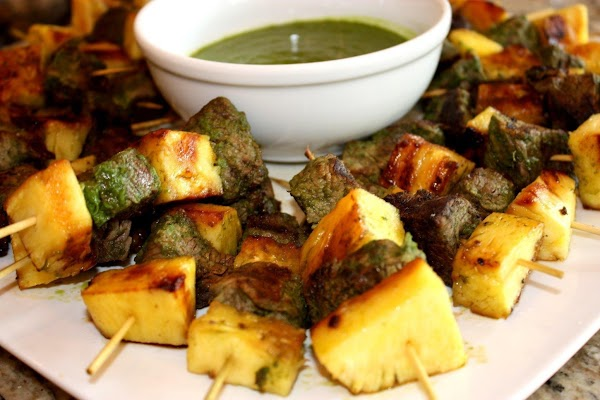 Beef Kebabs With Pineapple And Parsley Sauce Recipe
