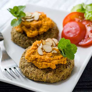Gluten Free Lentil Cakes with Roasted Carrot Romesco Sauce