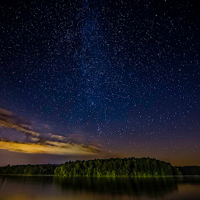 Starry Night by Luke Popwell - Landscapes Starscapes ( water, stars, dark, trees, reflections, lake, night, astrophotography, night sky, milky way,  )