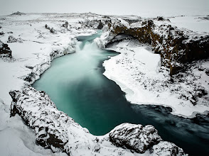 Photo: By Godafoss, Iceland  Even when the weather is dull, one can find an inspiring scenery almost behind any corner in Iceland. And much more so in the winter. These are amazingly colored waters of Skjálfandafljót river, just few hundred meters below Godafoss.  Enjoy and share if you like it. Thanks!