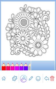 Çiçekler mandala boyama kitabı Ekran Görüntüsü