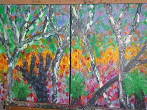 Photo: Bushfire Regrowth two paintings Oil 60cmx40cm $60