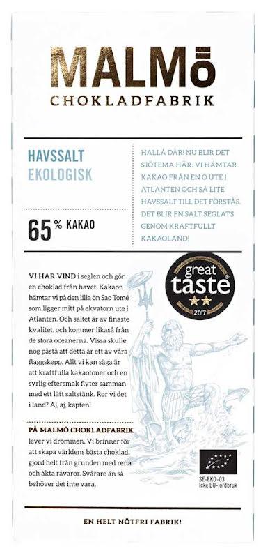 Havssalt – vegansk mörk choklad 65 % - Malmö Chokladfabrik