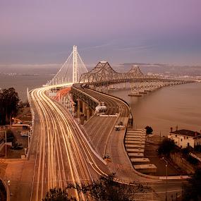 Bay Bridge by Alex Sam - Buildings & Architecture Bridges & Suspended Structures ( waterscape, night, bridge, bay bridge, san francisco, city )