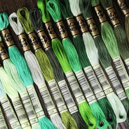 Broderigarn DMC - Grön, smaragd, turkos