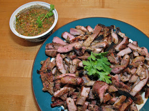 Photo: charcoal-grilled lemon grass pork with hot-and-sour dipping sauce
