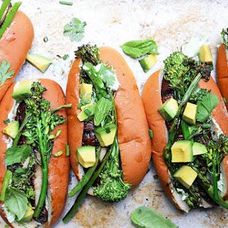 Grilled Portobello Mushroom and Broccolini Veggie Dogs.
