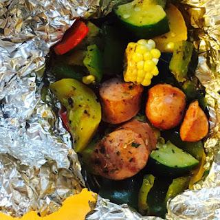 Kielbasa with Summer Vegetable Packets.