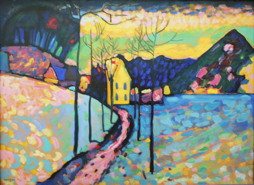 "kandinsky-winter-landscape.jpg -  Wassily Kandinsky, ""Winter Landscape,"" 1909, oil on cardboard, at the Hermitage at St. Petersburg, Russia."