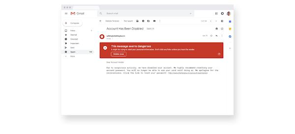 A Gmail suspicious email alert