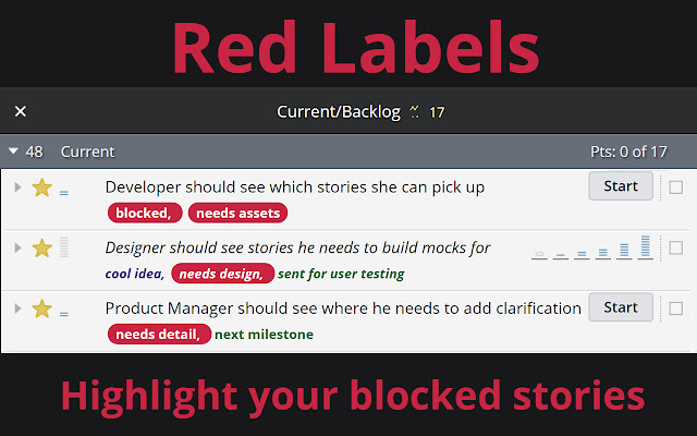 Red Labels for Pivotal Tracker