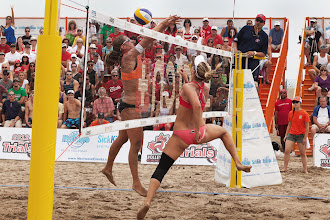 Photo: Annie Martin, left, misses the ball with against Heather Bansley at the Olympic beach volleyball trials at Ashbridge's Bay. (Zoran Milich, for Sportsnet.ca & Sportsnet magazine)